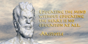 Aristotle with a quote attributed to him.