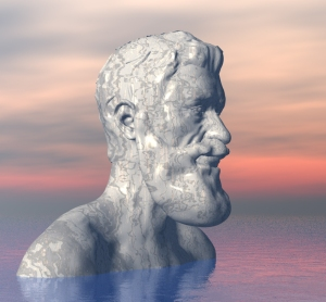 3D image of Empedocles. Of course, we have no idea what they really looked like.