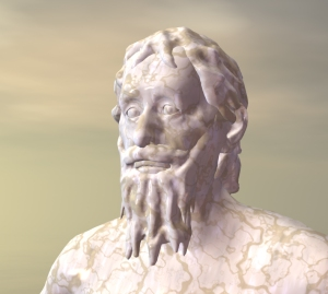 Another view of Heraclitus. I set the models into Bryce, added a marble texture and skies, and created a simple camera orbit animation so that renders could be easily created from different sides.