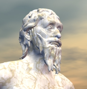 3D image of Heraclitus. He is often shown as the Weeping Philosopher, saddened by the folly and impermanence of the world.