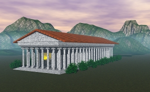 A 3D model of the Temple of Artemis at Ephesus, where Heraclitus lived. This image was modeled by Cameron Larson.
