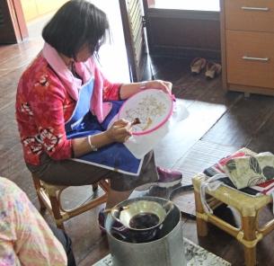 Anu doing batik