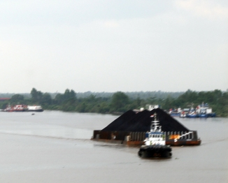 Coal barge on Barito