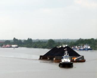 Coal barge on Barito