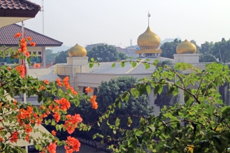 Mosque with bougainvillea