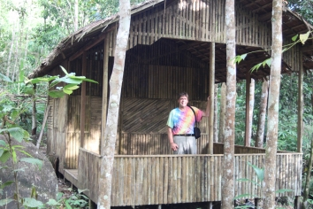David in bamboo hut