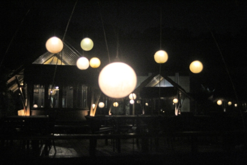 Glow globes at night