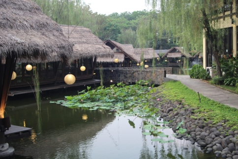 Huts and lillypond