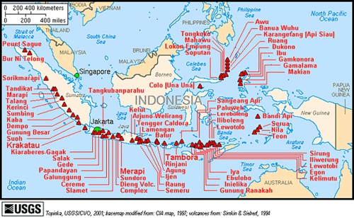 Active volcanoes in Indonesia
