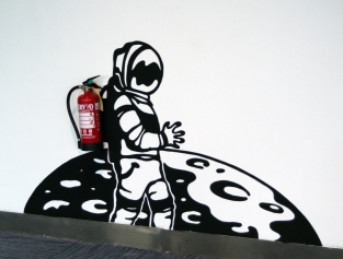 Astronaut hydrant painting