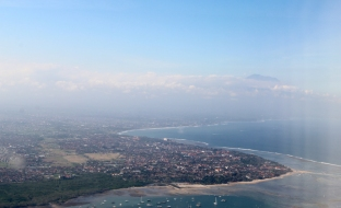 Bali coastline from air