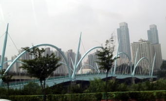 Blue bridge to new city