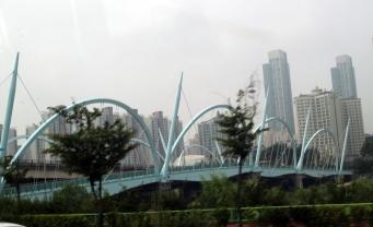 Blue bridge to new city