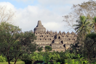 Borobudur through trees