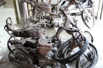 Charred motorcycles