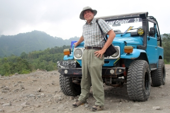 David with jeep on Merapi