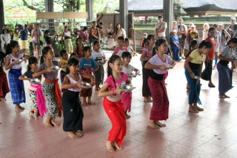 Girls practicing dance