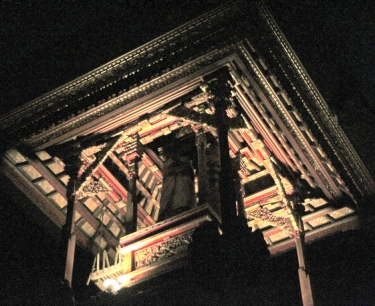 Neighborhood temple at night