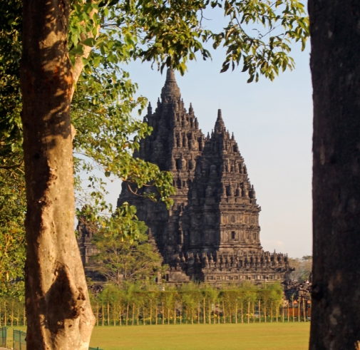 Prambanan through trees