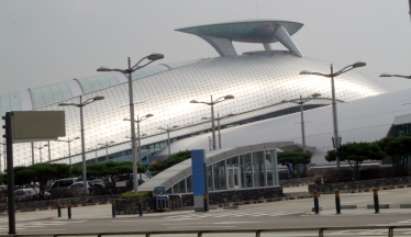 Silver building at airport