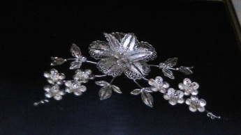 Silver filigree flowers