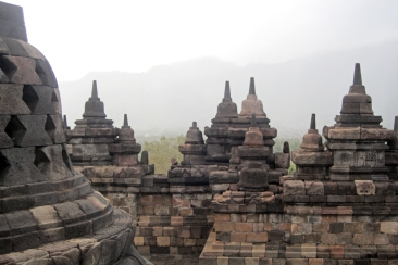 Stupas at Borobudur in early light