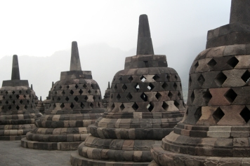 Stupas in the mist