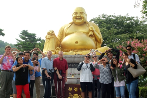 Tour group at fat Buddha