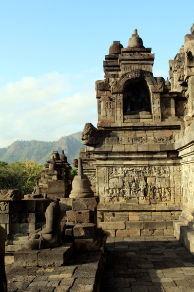 Walls of Borobudur in sunlight