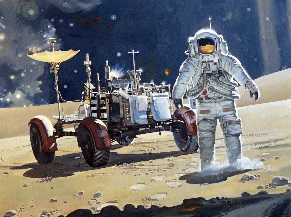 Astronaut and LRV mural